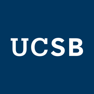 Image with white UCSB logo on navy blue background